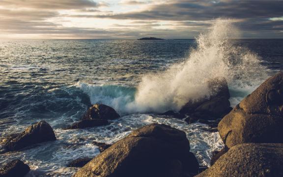 海上卷起一股汹涌的海浪