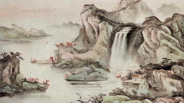 简约中国风水墨丹青画