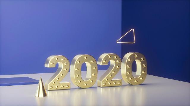 2020鼠年清新个性艺术数字设计