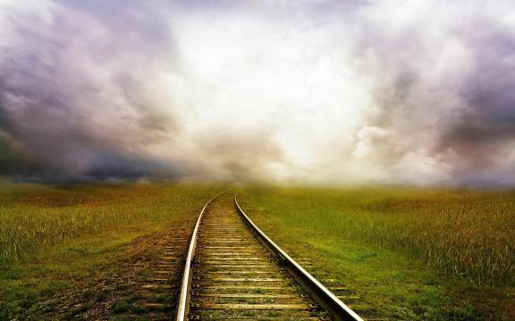 火车轨道唯美意境写真