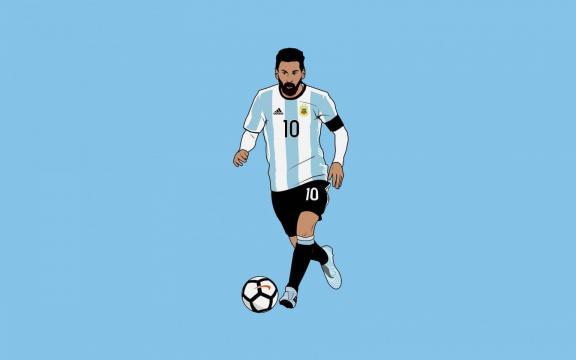 足球巨星梅西可爱插画