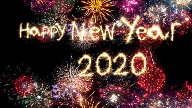 2020新年快乐酷炫烟花艺术字