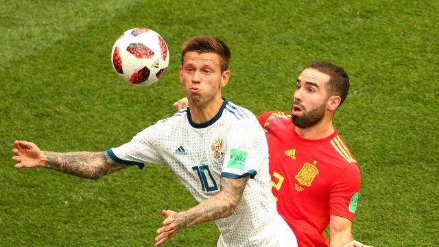 世界杯半场战报:西班牙1-1俄罗斯