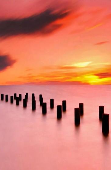 唯美的海上日出