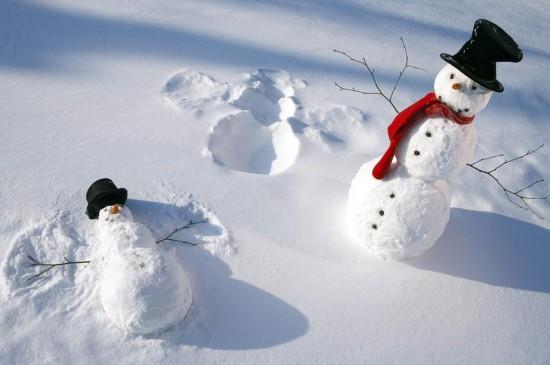 雪人冬日美景