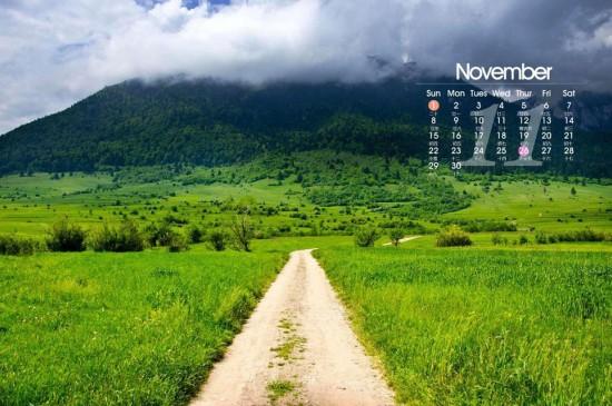 绿色清新11月日历