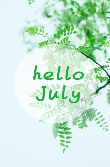 清新简约文字你好七月创意图片