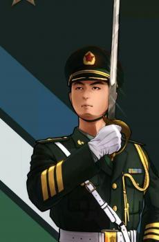 八一建军节致敬中国军人插画