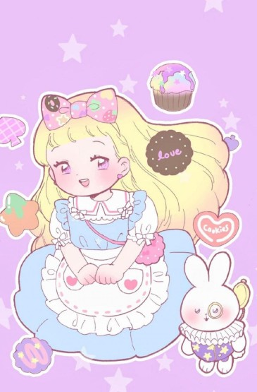 粉色系少女可爱卡通插画