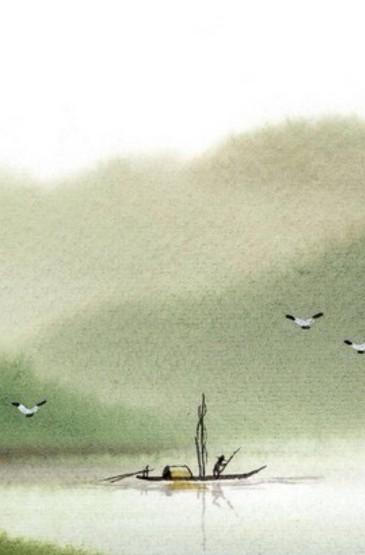 国画山水田园风景